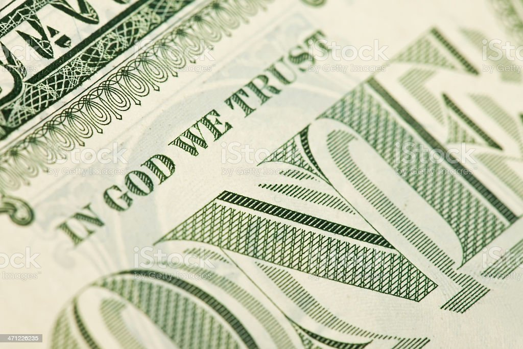 In God We Trust - One Dollar Bill stock photo