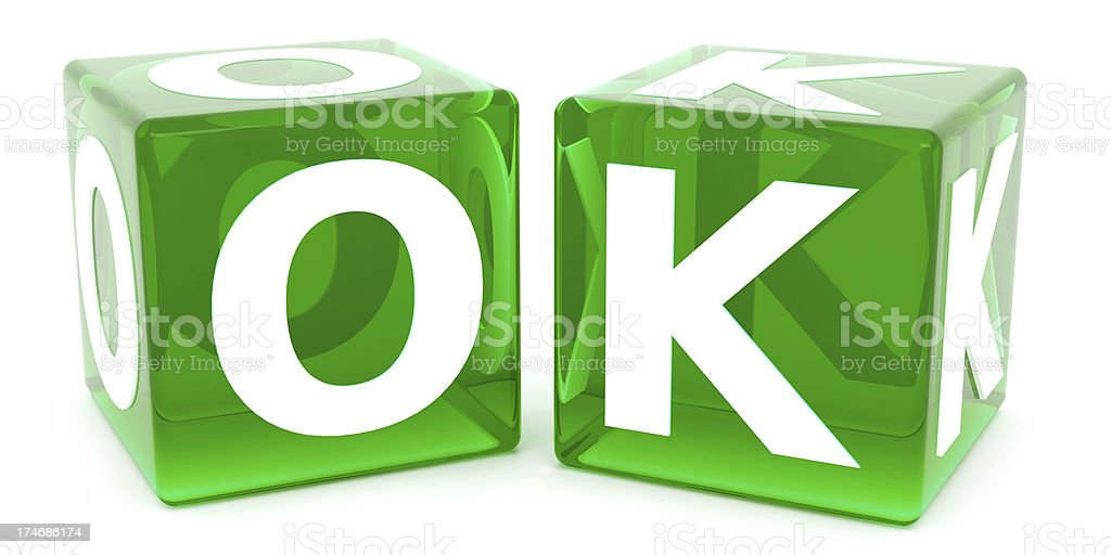 3D OK in Green Dice stock photo