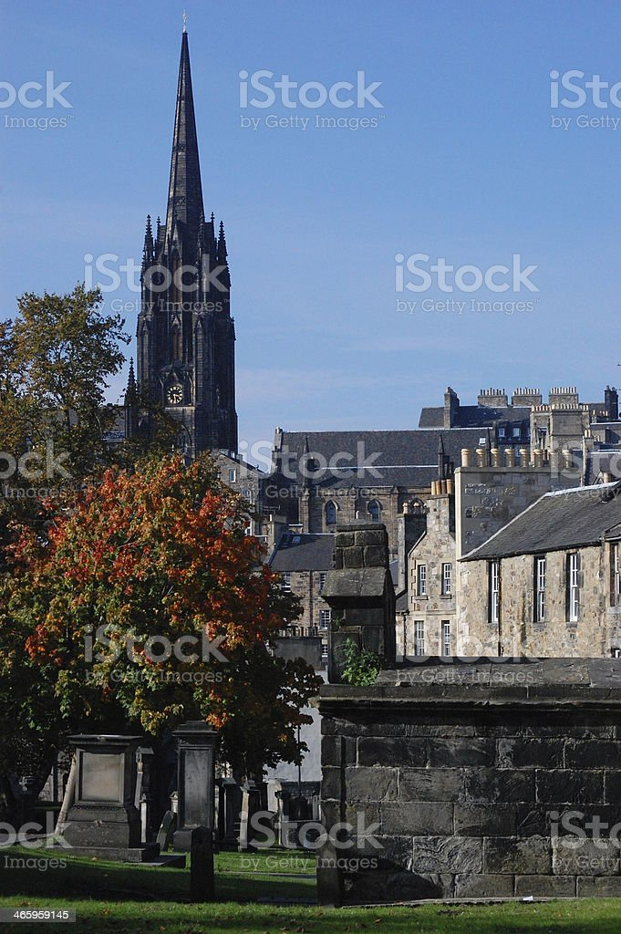 In Greyfriars Cemetery, Edinburgh with Tron Kirk behind. stock photo