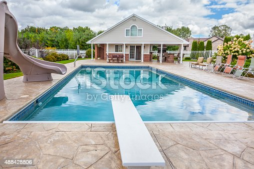 Inground Pools With Diving Board And Slide in ground swimming pool with poolhouse slide diving board stock