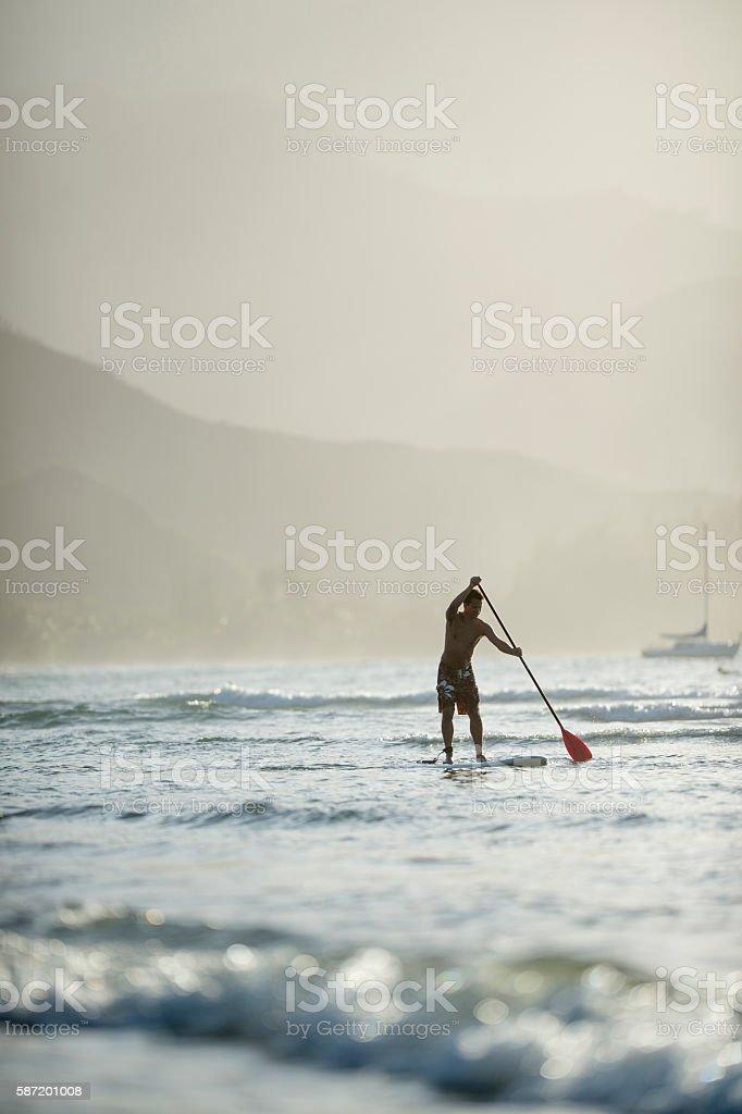 SUP in Hawaii stock photo