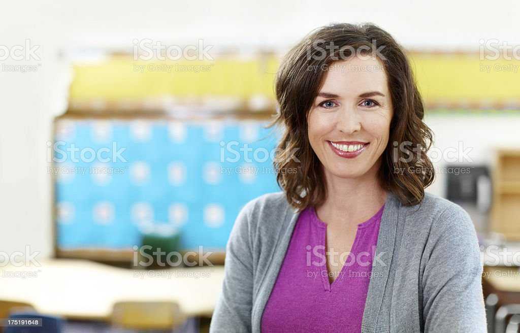 In her element-the classroom! stock photo