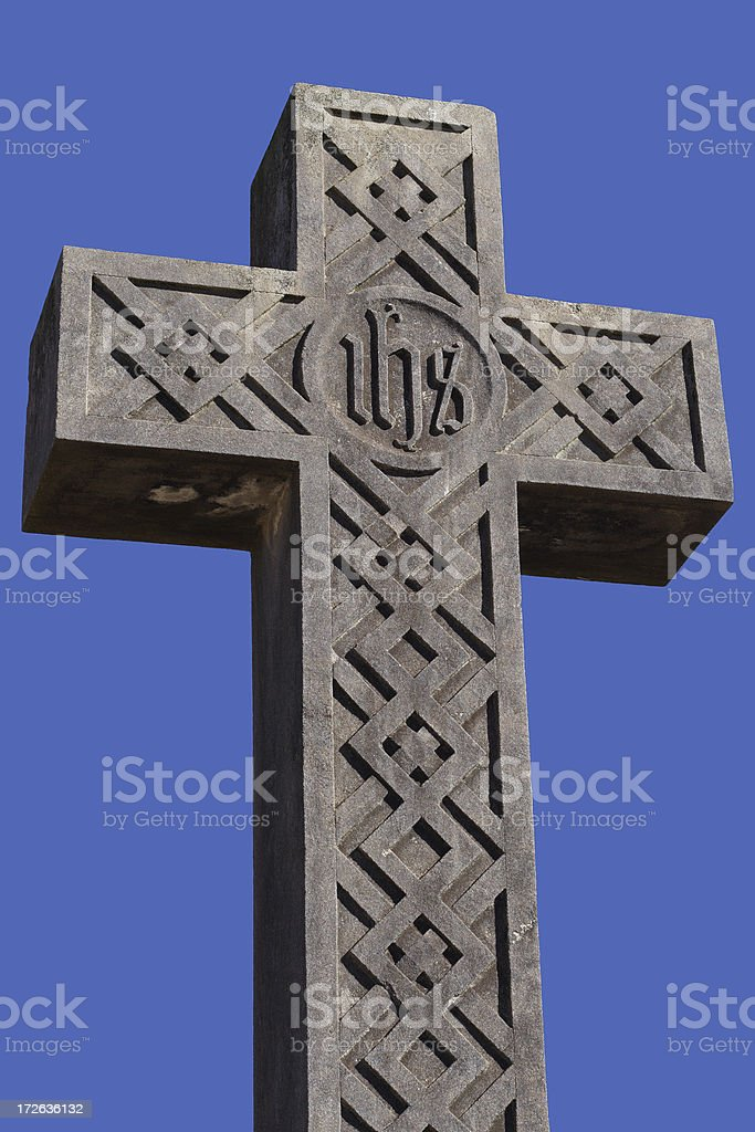 In His Service: cross with celtic pattern royalty-free stock photo