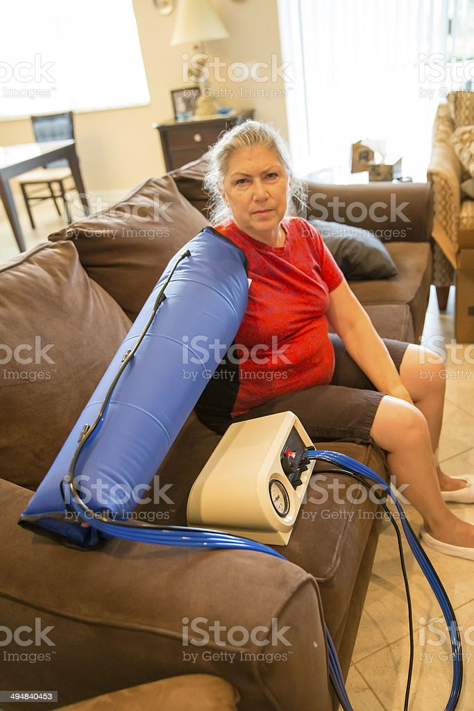 In home lymphedema therapy stock photo
