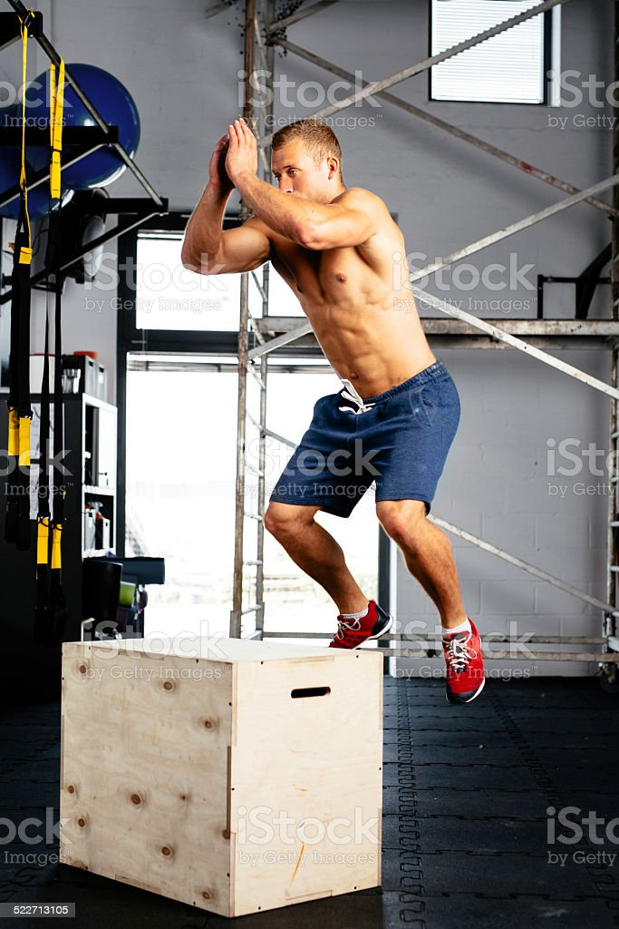 In jumping motion stock photo