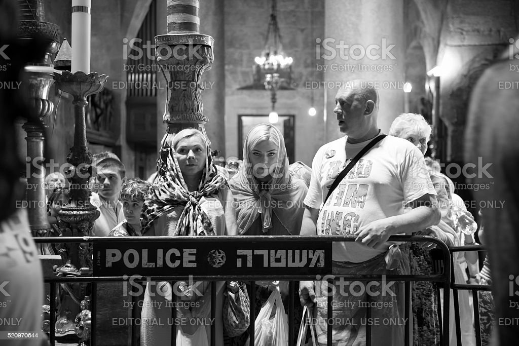 In line to visit Jesus' tomb in Jerusalem's Holy Sepulchre stock photo