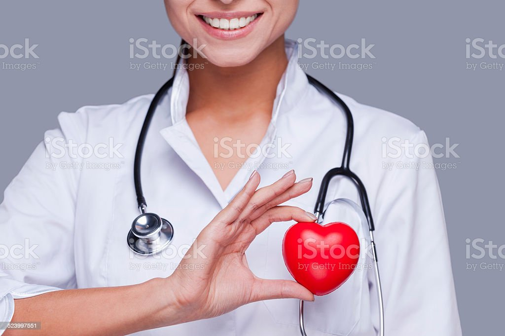 In love with her profession. stock photo