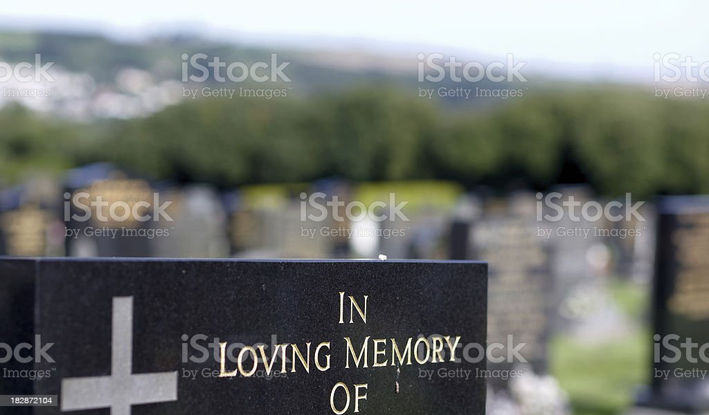 In loving memory gravestone inscription closeup royalty-free stock photo