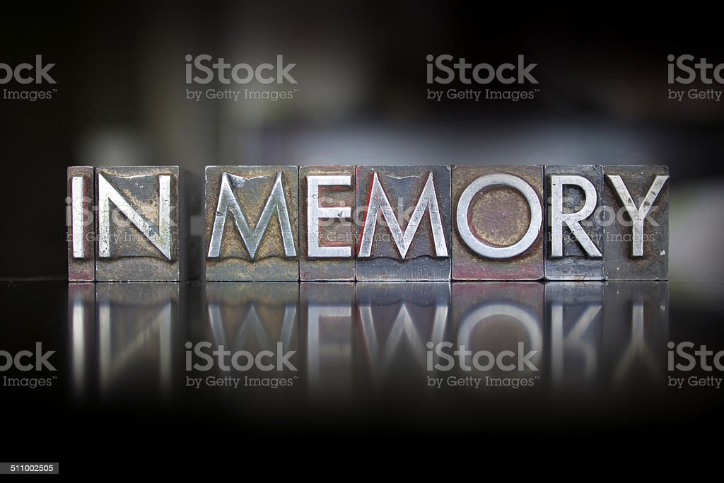 In Memory Letterpress stock photo