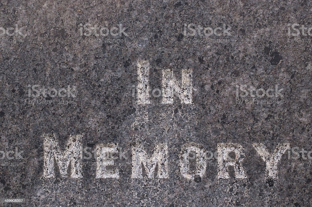 In memory written on a gravestone stock photo