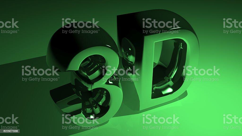 3D in metallic green stock photo