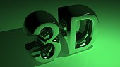 3D in metallic green