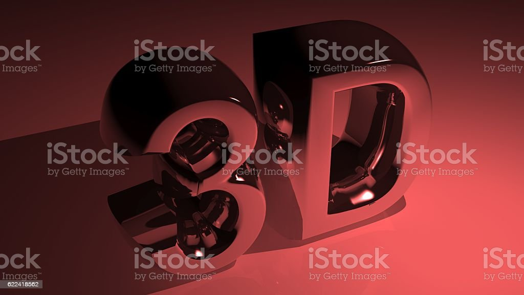 3D in metallic red stock photo