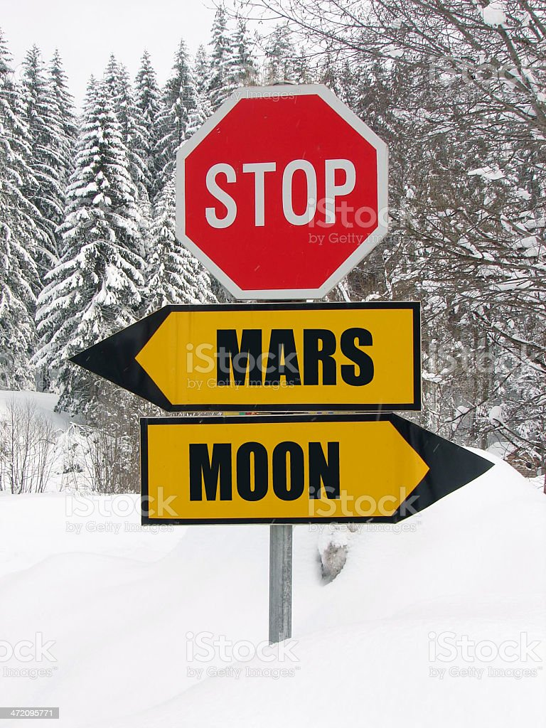 in  middle of the starway, mars and moon roadsign stock photo