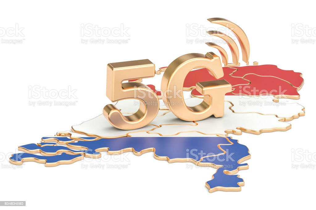 5G in Netherlands concept, 3D rendering isolated on white background stock photo