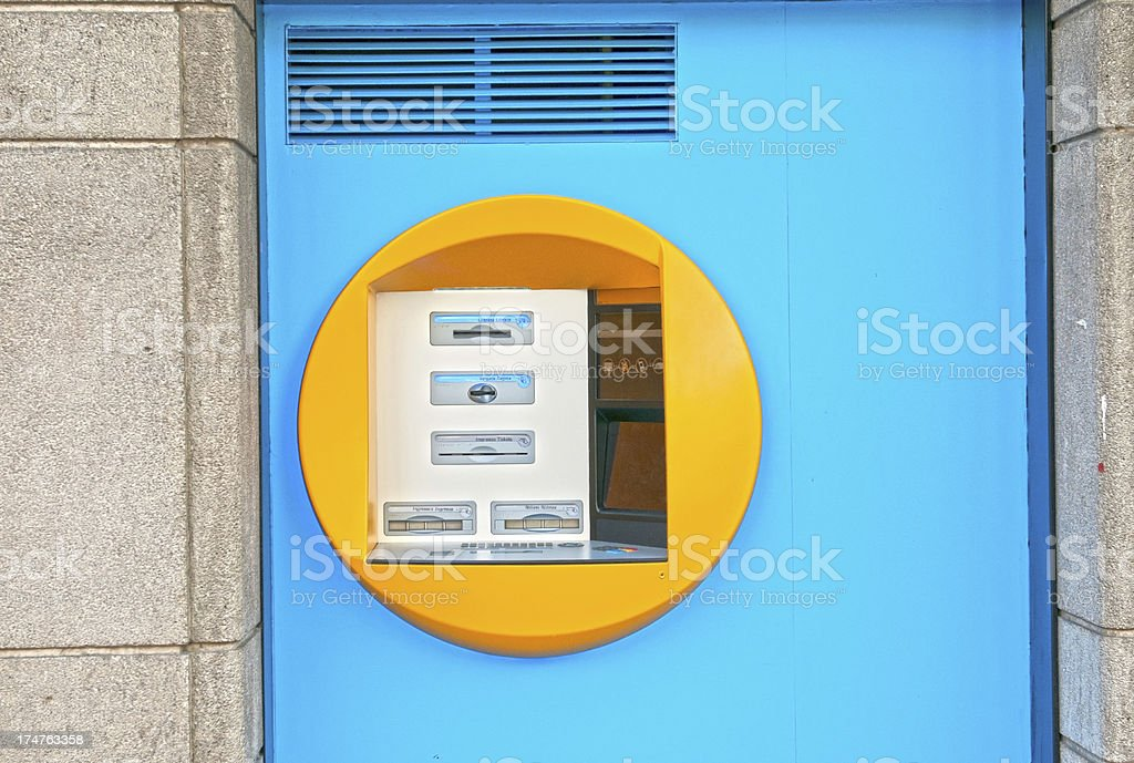 ATM in outer wall of Barcelona bank stock photo