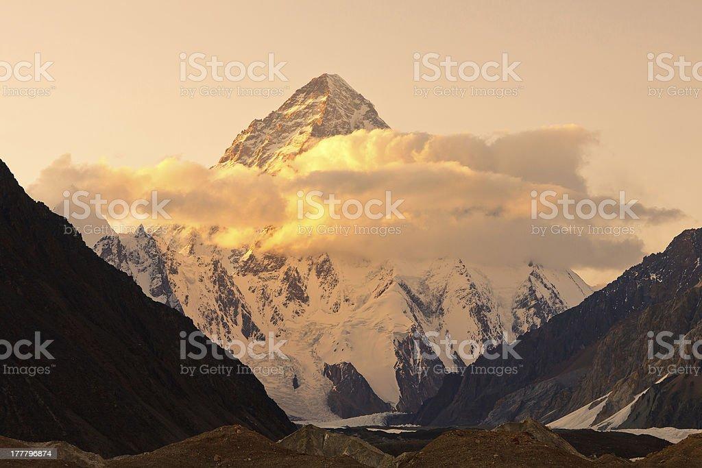 K2 in Pakistan at Sunset stock photo