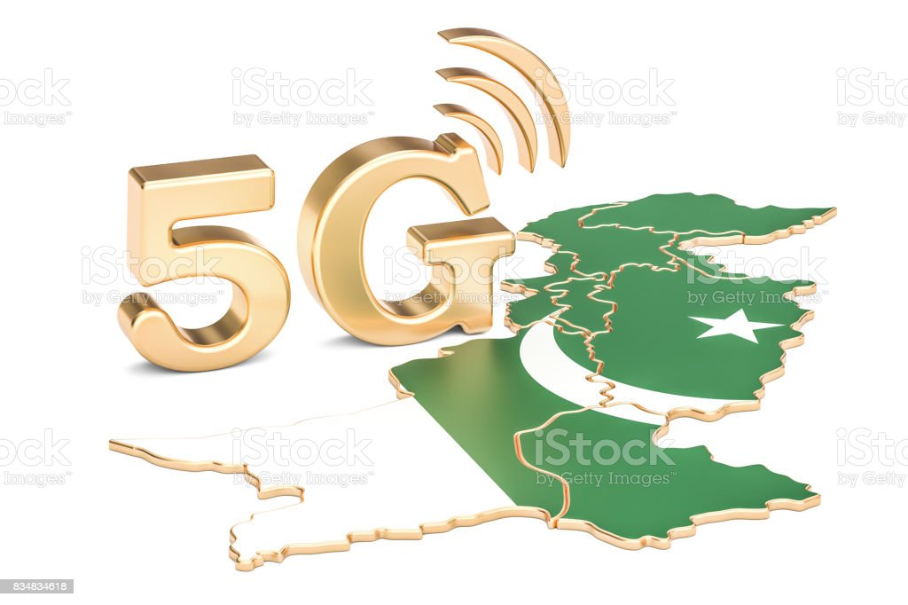 5G in Pakistan concept, 3D rendering isolated on white background stock photo