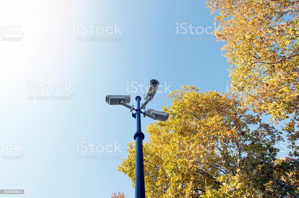 CCTV in park stock photo