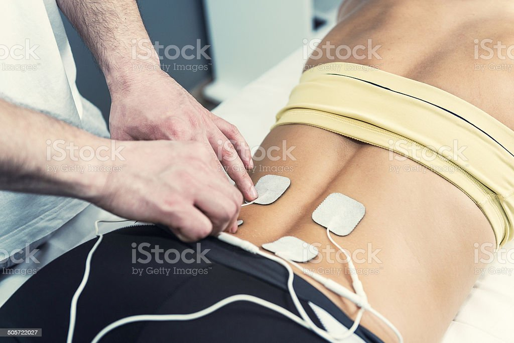 TENS In Physical Therapy stock photo