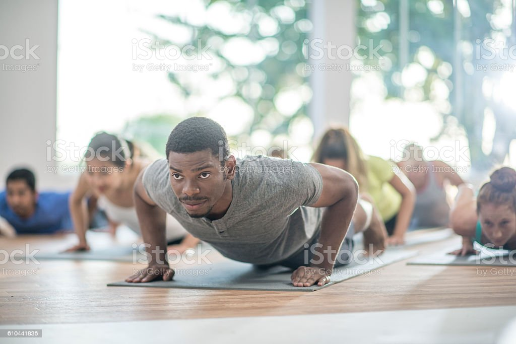 In Plank Position stock photo