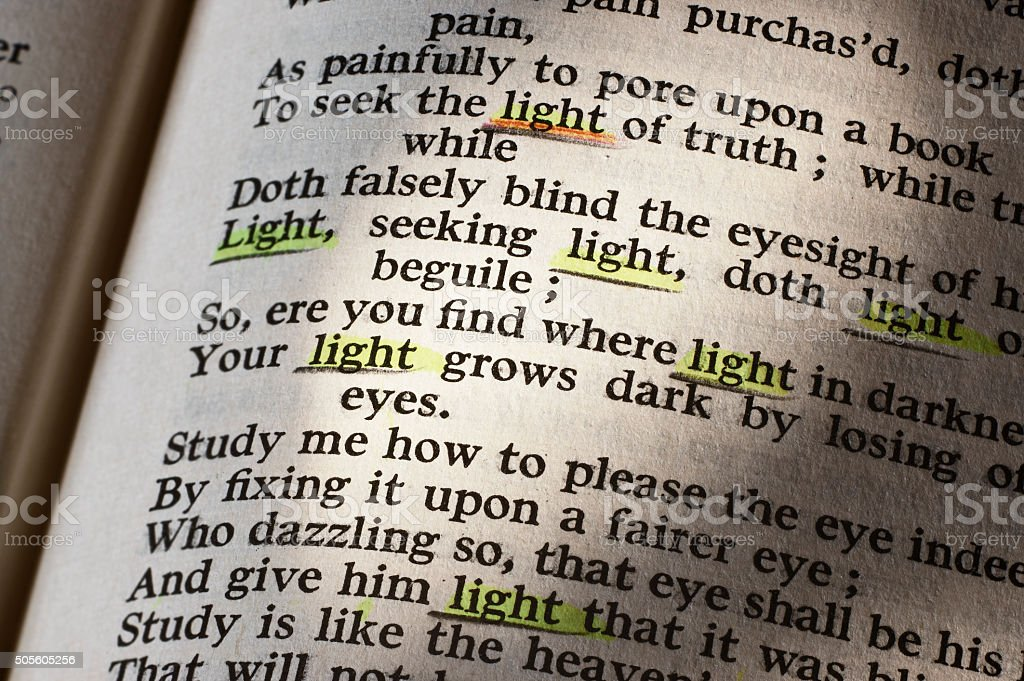 In praise of light according to Shakespeare stock photo