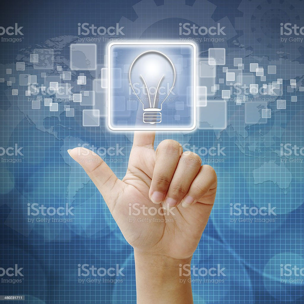 In press bulb light icon for business concept royalty-free stock photo