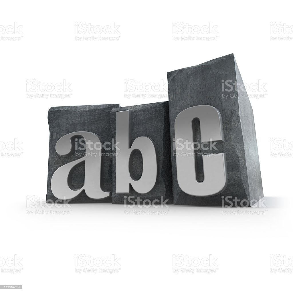 ABC in print letter cases royalty-free stock photo