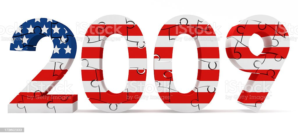 3D 2009 in Puzzle with Us Flag stock photo