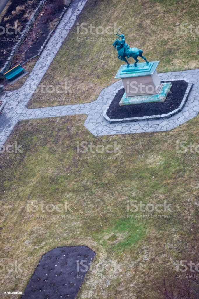 In Quebec City, view at Jardin Jeanne d'Arc (Joan of Arc's Garden) where a statue of the brave young woman on her horse stands in the middle of it. stock photo