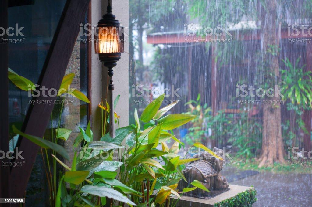 in rainy day stock photo