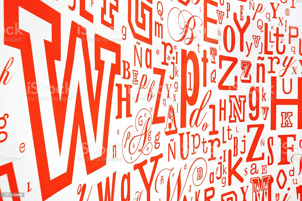 ABC in red letters on white background stock photo