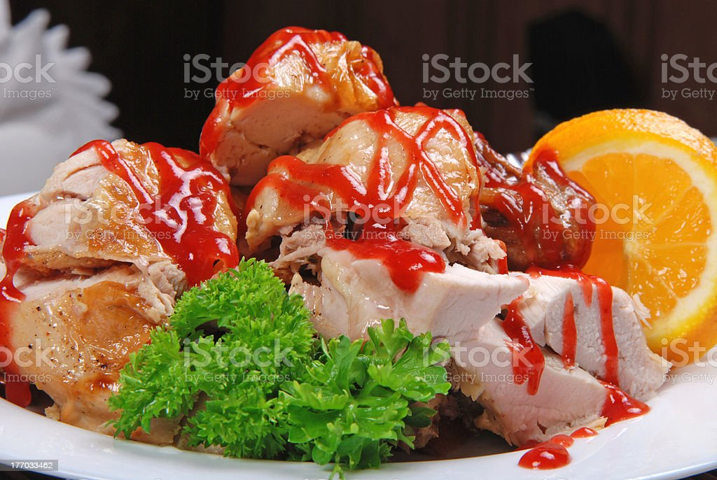 In restaurant. Fried chicken royalty-free stock photo