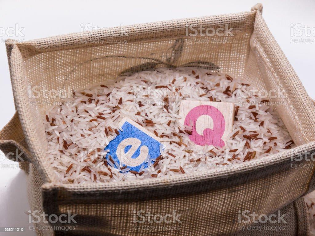 EQ in rice basket stock photo