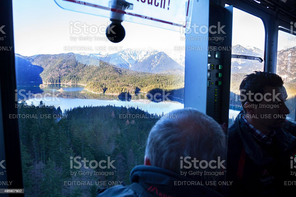 In ropeway on way up to Zugspitze stock photo