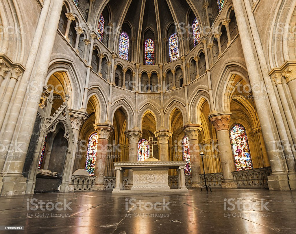 In side of Notre-Dame Cathedral - Lausanne, Switzerland royalty-free stock photo