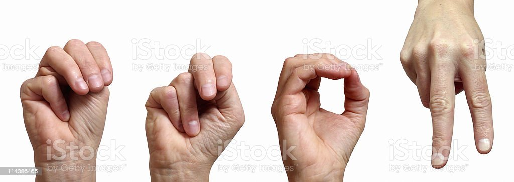 MNOP in Sign Language royalty-free stock photo