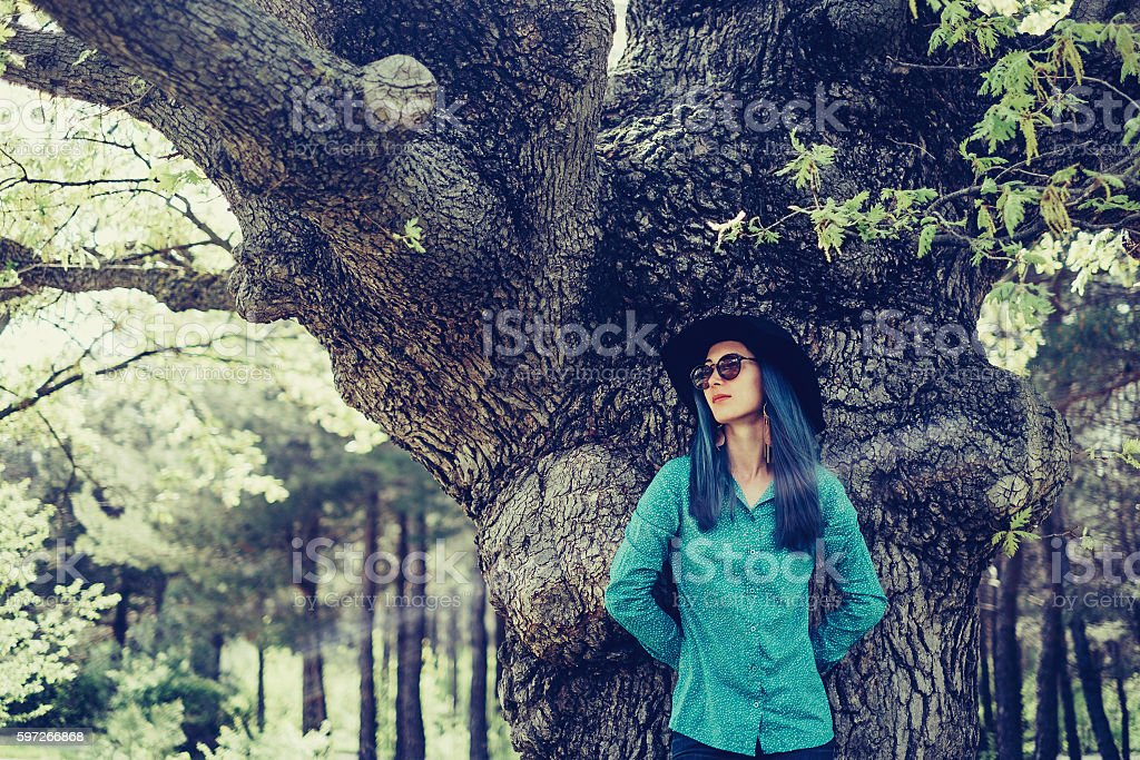 In summer park stock photo