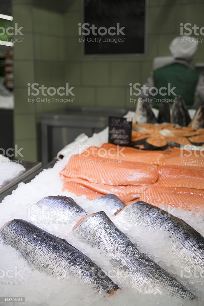 in supermarket fresh raw red fish on ice royalty-free stock photo