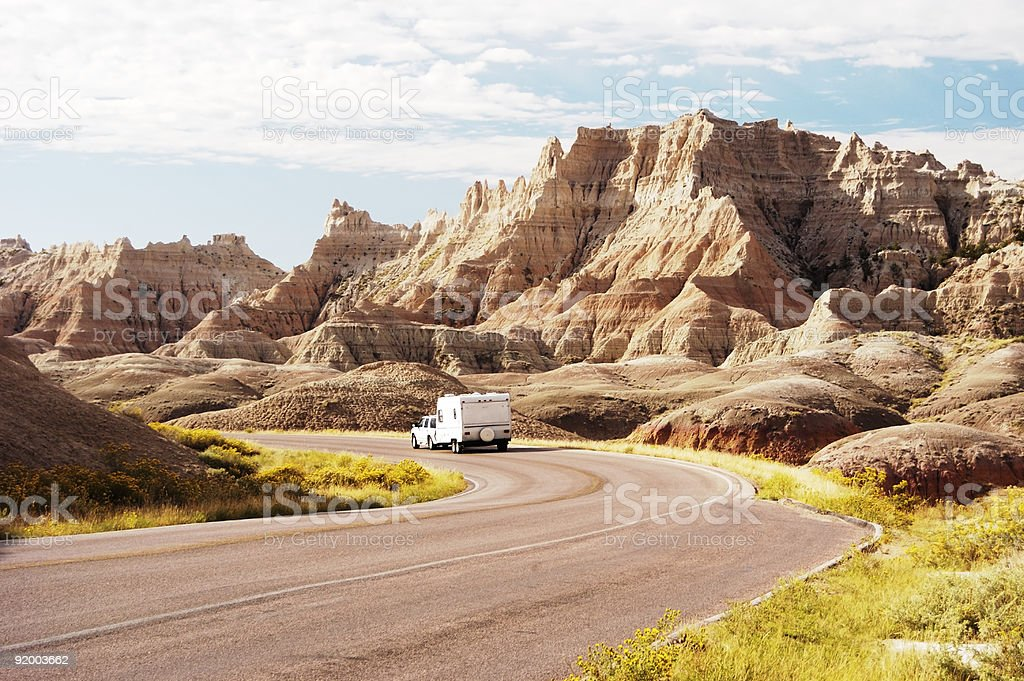 RV in the Badlands royalty-free stock photo