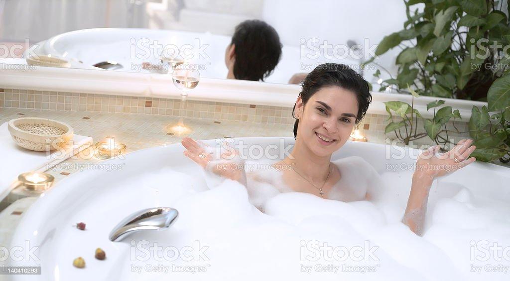 In the bathroom stock photo