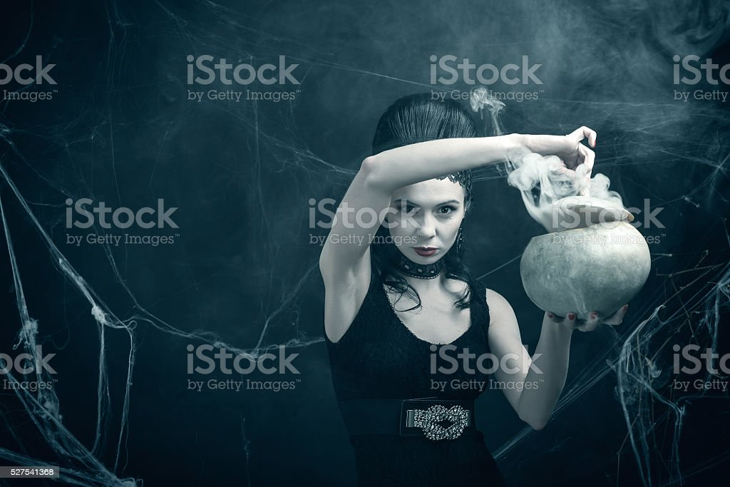 In the cave of the sorceress stock photo