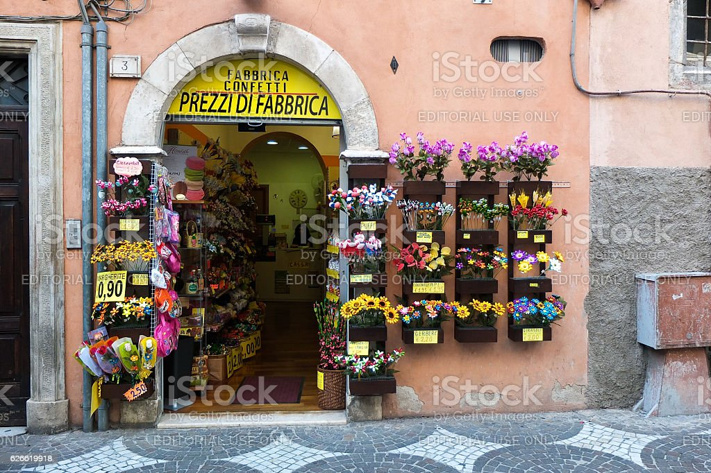 In the city streets of famous sulmona for confetti stock photo