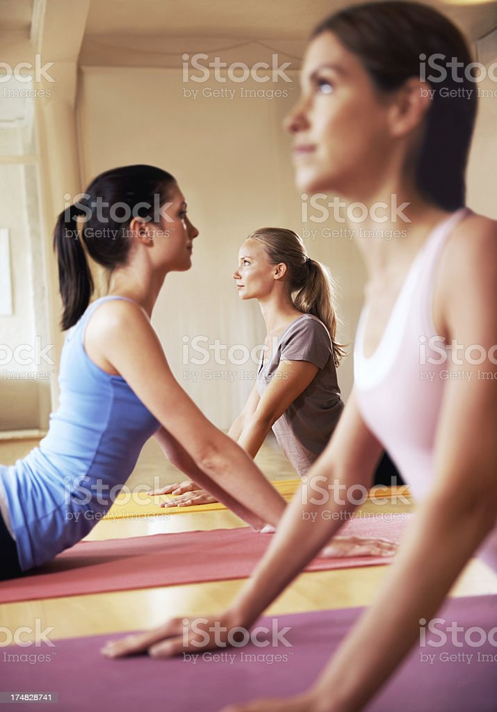 In the cobra pose and feeling great stock photo