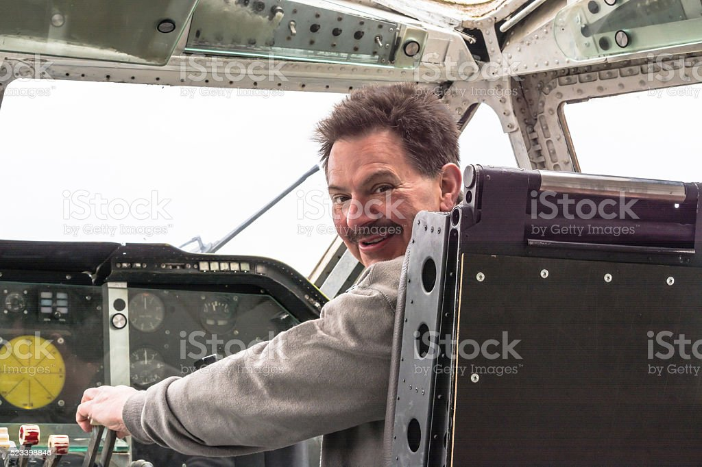 In the cockpit of a vintage aircraft stock photo