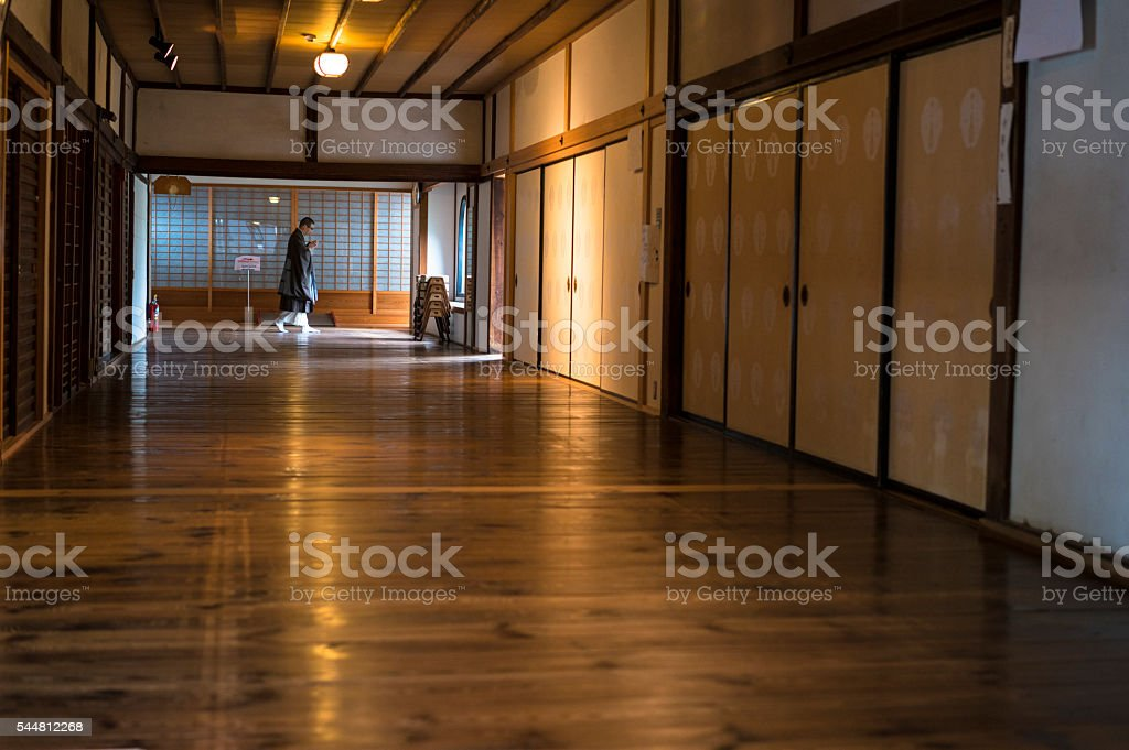 In the corridor of Chion.ji temple in Kyoto, Japan stock photo