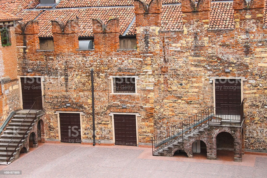 In the courtyard of  house. Verona, Italy stock photo