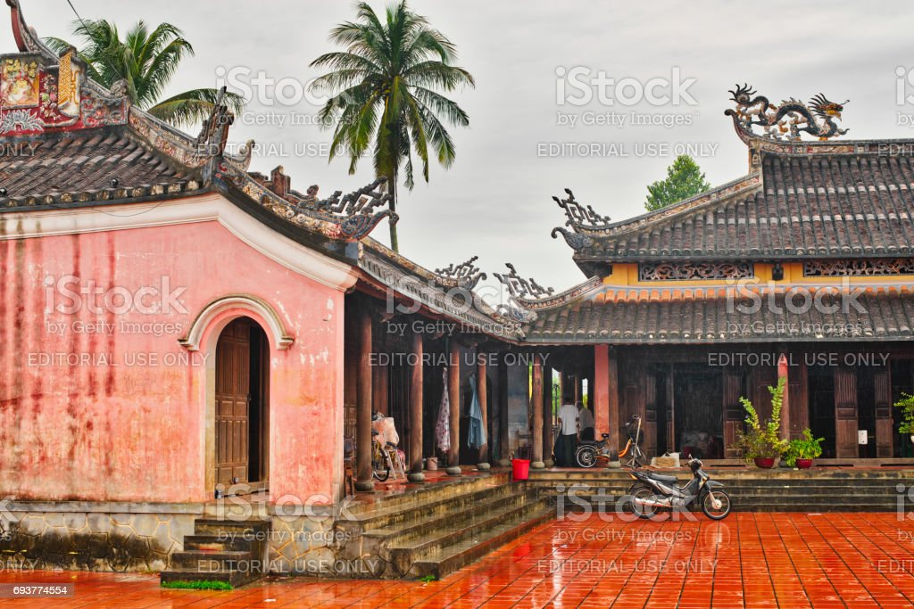 in the courtyard of the temple Confucian, Hoi An, Quang Nam Province, Vietnam stock photo