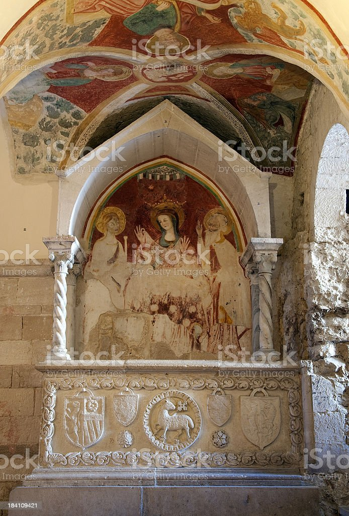 In the crypt of San Nicola Pellegrino Cathedral, Trani royalty-free stock photo