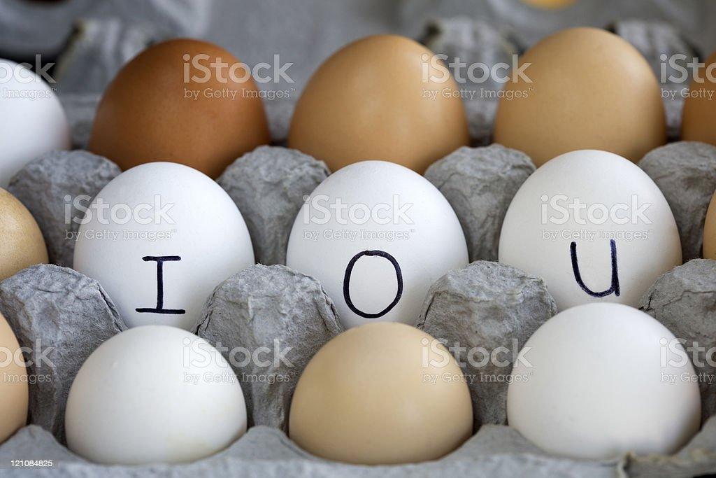 IOU in the egg carton. stock photo